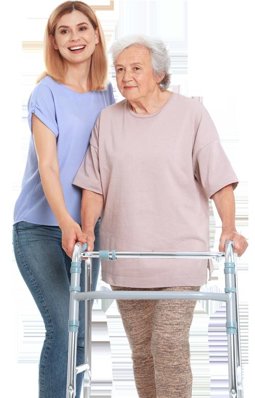 Frau hilft Senior